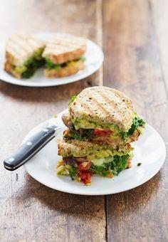 Avocado Veggie Panini - Pinch of Yum - sub vegan cheese, no cheese
