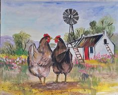 farm hens by Artist Wilma on Fb Farm Paintings, Hens, Donkey, Wall Hangings, Rooster, Boards, Pretty, Artist, Cute