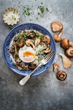 Mushroom, spinach and quinoa risotto with oven-poached eggs – a hearty and healthy vegetarian meal that screams 'comfort'.