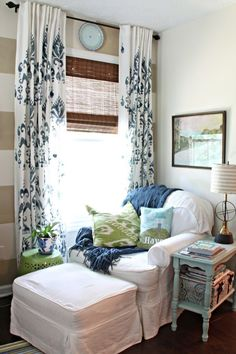 master bedroom reading nook Even without the stripes on the accent wall I am loving the blue and green accents and the curtains! Bedroom Reading Nooks, Bedroom Nook, Cottage Shabby Chic, Master Bedroom, Bedroom Decor, Blogger Home, Living Spaces, Living Room, Home Fashion
