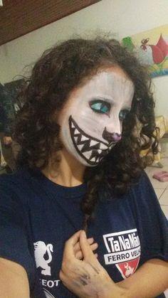 Gato-Alice no País das Maravilhas-Halloween-Cat-Dia das Bruxas-Maquiagem Eu que fiz rsrs
