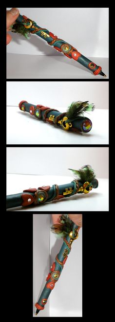 love bird polymer clay pen with key, gems and feathers. gifts etsy