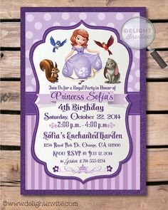 Hey, I found this really awesome Etsy listing at https://www.etsy.com/listing/190071882/sofia-the-first-birthday-invitation