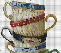 Очаровательные чашки! Вышивка крестом, схема