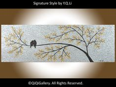 "36"" Original Modern Abstract Heavy Texture Metallic Gold  Silver  Painting Landscape Love Birds Wall Décor ""The Promise"" by QIQIGALLERY. $185.00, via Etsy."