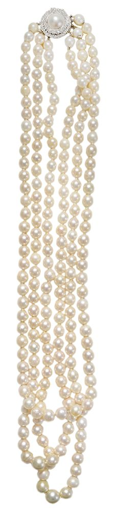 Brunk Auctions - Triple Strand Pearl Necklace, Diamond Clasp