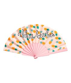 Aloha, beaches. We love this cheeky pastel pink fan with pineapple print- it's a perfect conversation-starter at the beach! | H&M Pastels