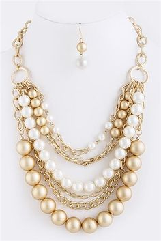 Chunky Pearl and Gold Tone Chain Necklace and Earrings