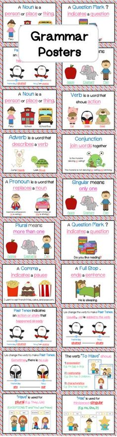 Grammar Poster Set (Noun, Adjective, Pronoun, Past Tense & many more) This poster set includes posters for Noun, Adjective, Verb, Conjunction, Pronoun, Singular, Plural, Punctuation, Past Tense and the Verb 'To Have'.