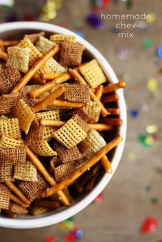 Homemade Chex Mix--perfect party snack for game day or NYE!
