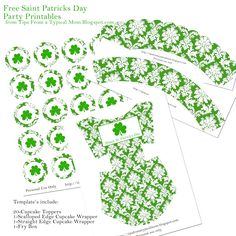 FREE {Saint Patricks Day} Party Template Printables! Includes cupcake toppers, cupcake wrappers, and a Fry Box for treats!