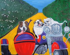English Bulldog Art Print / Easy Riders / by Original by Mike Holzer