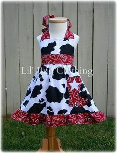Custom Boutique Country Cowgirl Red Bandana Western Wear Jumper Dress | eBay
