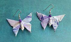 Purple Origami Butterfly Earrings Asian by FourthKingdomStudio