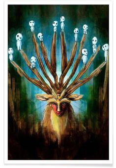 print on steel Movies & TV mononoke princess mononokehime anime forest miyazaki ghibli fanart spirits deer god kodama Art Studio Ghibli, Studio Ghibli Films, Film Anime, Art Anime, Anime Kunst, Hayao Miyazaki, Mononoke Anime, Mononoke Cosplay, Totoro