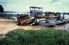 Land Rover Series III's being loaded up during Camel Trophy - 1983