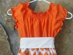 Ladies Orange and White Chevron Peasant by JustSewStinkinCute, $54.00 meghan pattern by sisboom