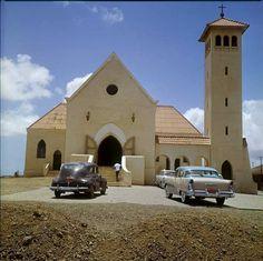 Church, old cars, Curacao, the Carbbean, sixties