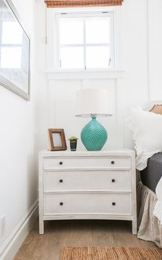 "California Beach House with Coastal Interiors - ""White Nightstand"" House Of Turquoise, Turquoise Table, All White Room, Moving Furniture, Dream Beach Houses, Coastal Bedrooms, Coastal Living, White Nightstand, Beach House Decor"