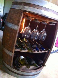 Wine barrel bottle and glass rack by MendAgain on Etsy, $350.00