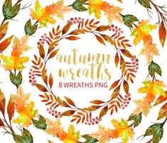 Autumn Wreath Clipart, Watercolor Wreath Clipart, Hand Drawn Wreaths, Seasonal wreath Thanksgiving Wreath…