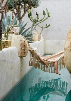 Home inspiration: the best place for the hammock In a summer villa a hammock by the pool with cactiHubba-to, Supermachine Studio, photo: Wison Adorable Contemporary Living Room Design Id. Backyard Hammock, Outdoor Hammock, Hammock Ideas, Backyard Retreat, Home Decor Trends, Diy Home Decor, Decor Ideas, Wood Ideas, Bar Ideas
