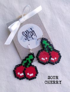 Earrings made of Hama Mini Beads Sour Cherry by SylphDesigns, €5.00