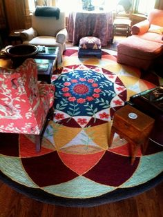 Punch hooked rug designed from an 1700's clock face
