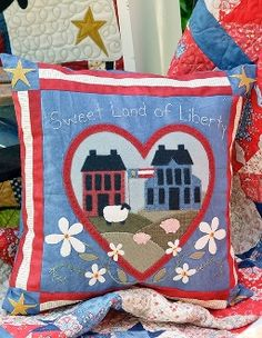 Sweet Land of Liberty - Salt Box Houses, Sheep, Pigs, Daisy Pillow - Red White and Blue - Pattern in Stars and Stripes in the Coop by The Little Red Hen