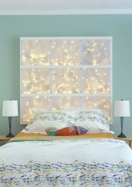 "Cool DIY headboard or display.Cool DIY headboard or display. The process is quite simple. Build a simple wood frame from 2x4s, and add crossbeams. Drill small holes to put cords through in the bottom of each opening. Paint your frame and screw to the wall. Fill each space with lights and connect all cords. Cut translucent panels from polycarbonate sheet and fix to the frame with screws."" data-comp"