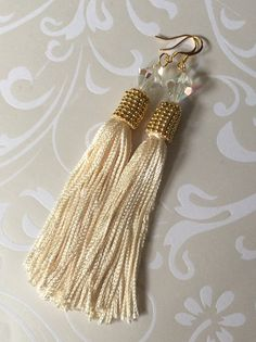 Long Seed Bead Tassel Earrings Beaded Bright Gold and Cream Luxurious Fringe Dangle Earrings Beadwork Statement Jewelry Holiday Wedding