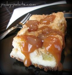 "Caramel Apple Cream Cheese Cookie Bars - These simple little Fall cookie bars are ooey gooey and ""appley"" Delicious w/warm soft caramel oozing off the sides. Enjoy!"