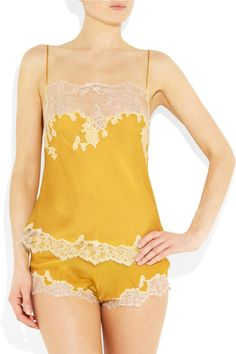 Carine Gilson Thème Louise lace-trimmed silk-satin camisole and tap pants