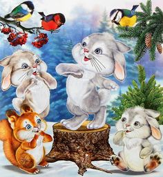 "Photo from album ""Иллюстратор И.Н Приходкин"" on Yandex. Cute Easter Pictures, Christmas Pictures, Cute Pictures, Christmas Drawing, Christmas Paintings, Cartoon Pics, Cute Cartoon, Beautiful Rabbit, Illustrator"