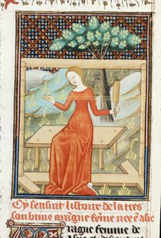 Miniature of Arachne weaving on a loom. French translation of Boccaccio's work on famous women (Rouen, Royal MS 16 GV, Giovanni Boccaccio. De claris mulieribus in an anonymous French translation (Le livre de femmes nobles et renomées) Talbot Master. Card Weaving, Tablet Weaving, Medieval Life, Medieval Art, History Medieval, Medieval Manuscript, Illuminated Manuscript, Lucet, Early Middle Ages