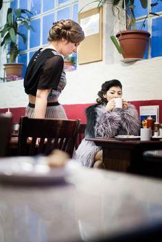 AIDA Shoreditch AW13 Lookbook, shot on location in Franco's cafe, Rivington Street Shoredtich. Miista, Selected Femme and Wondaland on models Rosie and Alyusha