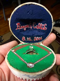 A Baseball Proposal - Cell Phone Ring Stand - Ideas of Cell Phone Ring Stand - Beautiful ring-holder for a baseball proposal Baseball Proposal, Baseball Ring, Baseball Girlfriend, Baseball Couples, Baseball Sister, Sports Baseball, Softball Wedding, Sports Wedding, Iphone Holder