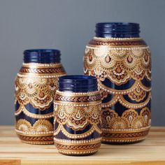 Vanessa Cline - Mason Jar Decor- Three Bohemian Style Mason Jars, Cobalt Blue Glass with Detailing in Copper, Gold, and Cream(Bottle Painting Mason Jars) Mason Jars, Apothecary Jars, Bottles And Jars, Mason Jar Crafts, Bottle Crafts, Glass Bottles, Bottle Painting, Bottle Art, Small Glass Jars
