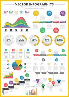 Grande pacote de visualização de dados vetoriais infográficos e elementos com bar de negócios, gráficos, gráfico, diagramas e ícone definido para brochuras, folhetos e sites de design
