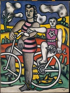 In 1948, the bicentennial of Jacques-Louis David's birth was commemorated at the Musée de l'Orangerie, Paris. This same year, Léger remade an earlier painting of six figures posed stiffly in an outdoor setting, one woman astride a bicycle with a child perched behind