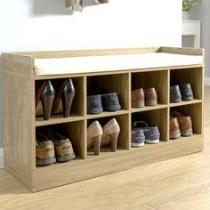 Fussen Wood Storage Hallway Bench