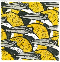 "ymutate: "" Howard Towll Gannet Heads 3 block Lino Print 2012 28 x28cm """