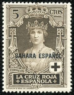 """Spanish Sahara 1926 Scott B1 5c black brown """"Queen Victoria Eugenia""""; Red Cross Issue Types of Semi-Postal Stamps of Spain, 1926, Overprinted"""