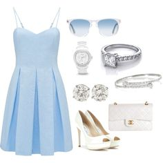 Bridesmaids Luncheon by oliviapichigian on Polyvore featuring Forever New, Jimmy Choo, Chanel, Gucci, FOSSIL, Oliver Peoples, Newyork, luncheon and bridesmades
