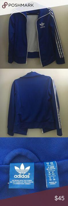 Blue Adidas Track Jacket Real Adidas royal blue track jacket with a white mesh inside; super comfortable; hardly worn Adidas Jackets & Coats