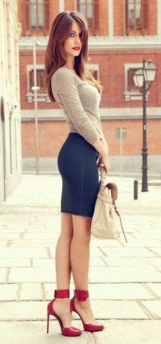 Trendy Hot Skirt + Pop Red Heels by Olive Oyl