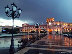 Unforgettable beauty of Yerevan Republic Square after the rain.  Want to enjoy views like this visit http://ayastour.com and travel with us.