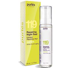 #Purles #Acid Peels 119 Repairing Night Peel 50ml Odnawiający #Żel Eksfoliujący z kwasami #AHA. Innowacyjny preparat łączący działanie czterech kwasów AHA (glikolowego, migdałowego, cytrynowego oraz mlekowego). Idealny do każdego rodzaju #skóry i codziennej jej pielęgnacji. Skutecznie oczyszcza i złuszcza wierzchnią warstwę #naskórka. Wykazuje silne działanie biostymulujące.