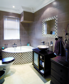 Luxurious, spacious and beautiful - the all in one built-in corner bath. Interior, Built In Bath, Lighted Bathroom Mirror, Bath, Bathroom Mirror, Corner Bath, Interior Design, Bathrooms Remodel, Bathroom Design