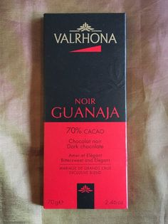 Valrhona Guanaja 70% has a dark caramel onset and floral finish. With a bit of passion fruit in the middle.